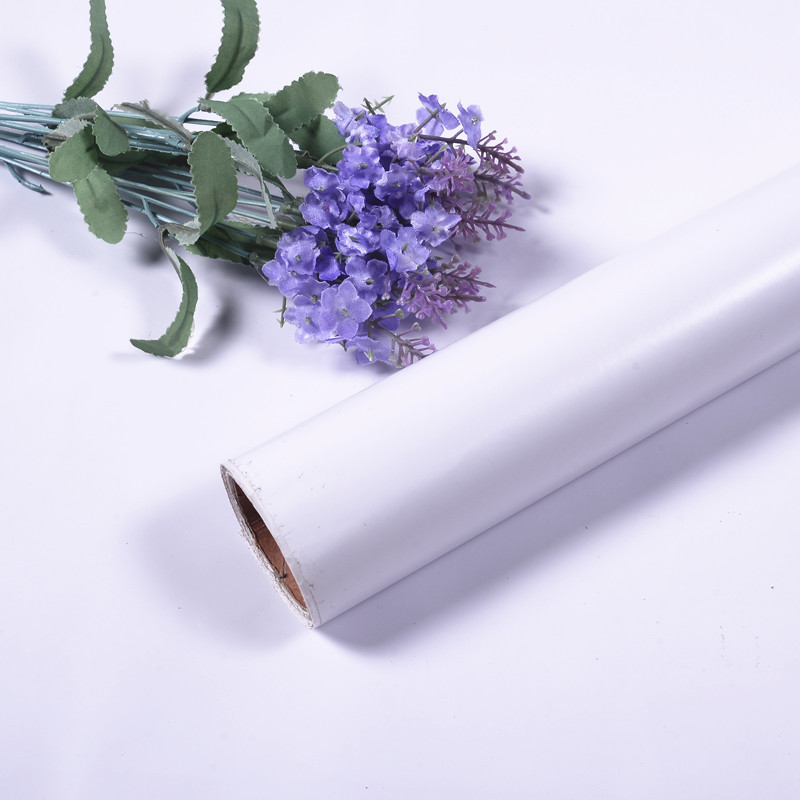 FUHAN Pure white self adhesive wallpaper PVC waterproof wallpaper wall sticker pure white instant pa