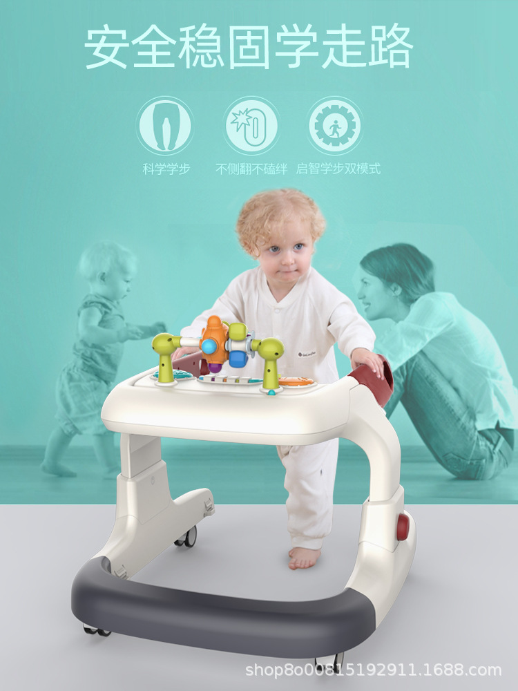 Bbabc Toddler Baby multifunctional early education anti rollover girl boy Walker cart music
