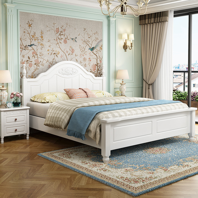 GUANYING American children's bed girl boy princess bed sheet man bed 1.5m solid wood bed baby bed 1