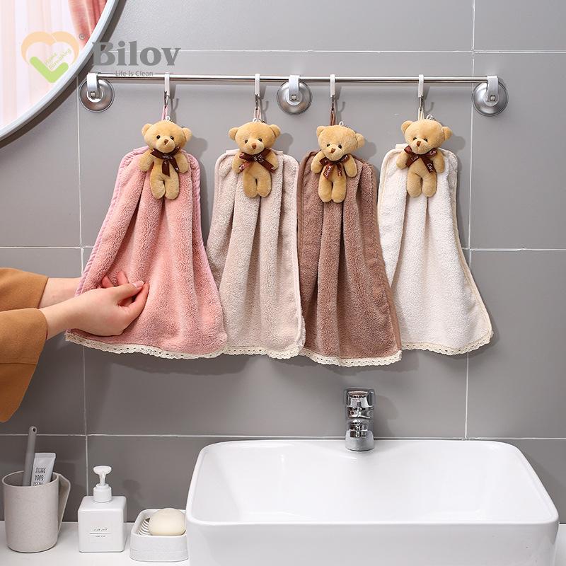 BILE Cartoon animal bear wipe towel absorbent coral velvet bear with hand shower towel