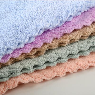 khăn lau tay Xưởng bán buôn khăn lông cừu san hô mật độ cao 25 * 25 khăn thấm nước khăn mặt microf