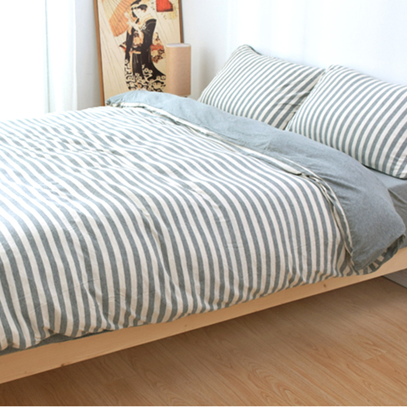 AIBULANG Tianzhu cotton four piece Japanese style knitted cotton stripe quilt cover sheet fitted she