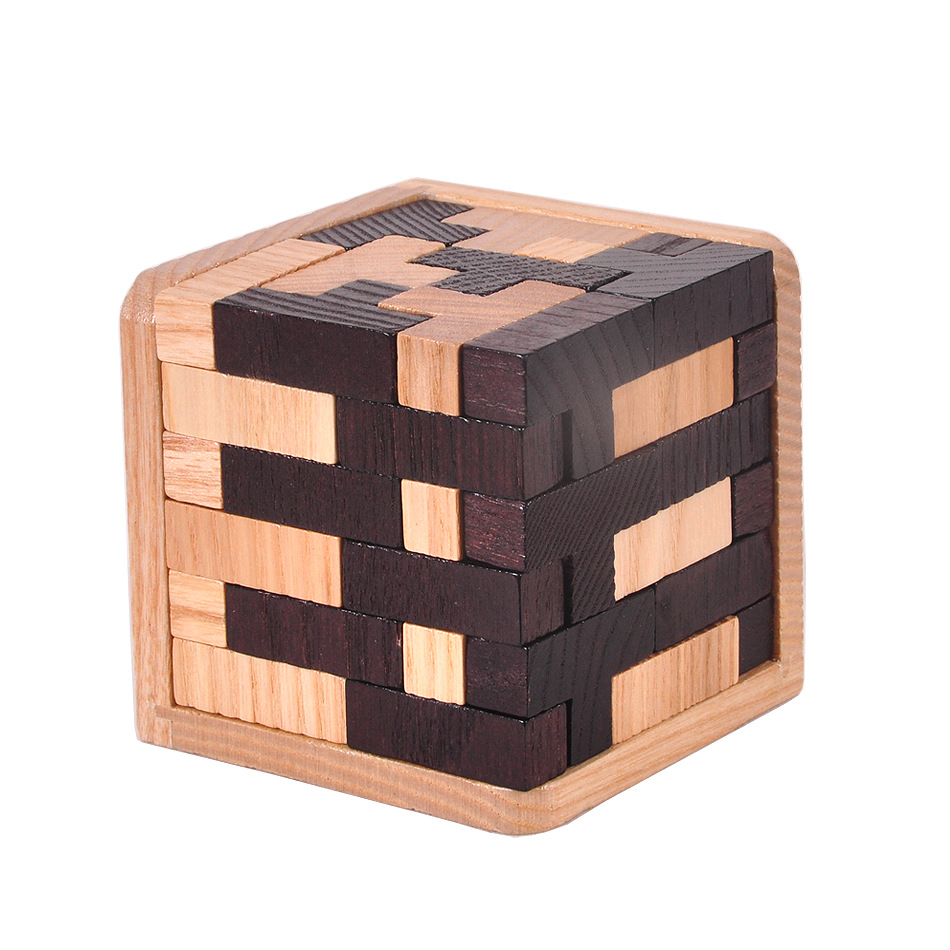 Large wooden educational toys Kongming lock Luban lock magic fight Tetris 54 t combination black and