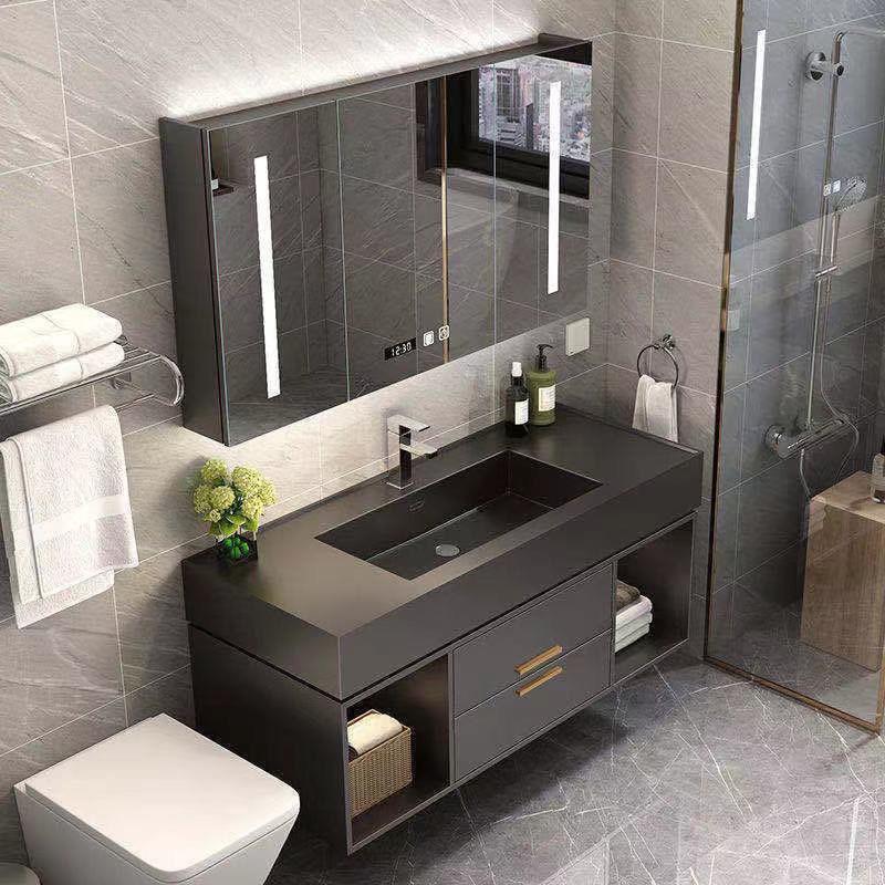 XIANGRUI Rock board integrated solid wood bathroom cabinet combination toilet intelligent mirror cab