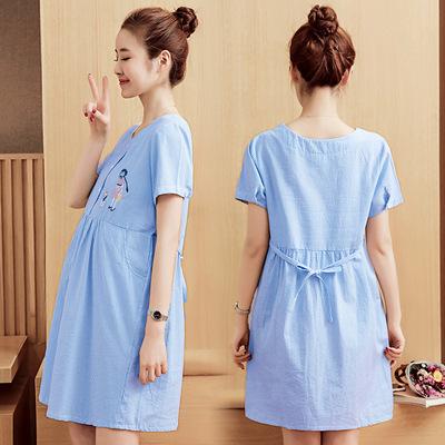 Maternity dress cotton hemp summer fashion Korean maternity summer short sleeve top summer Maternity