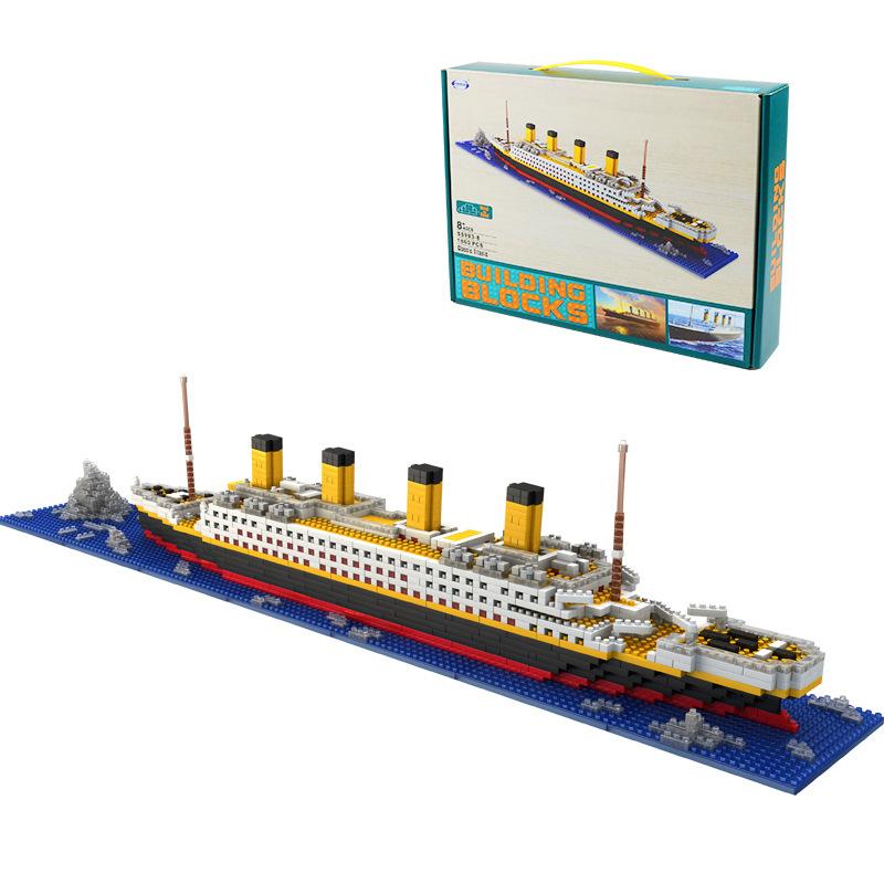 HYZX Titanic small particle building block Mini diamond particle children's puzzle DIY assembled to