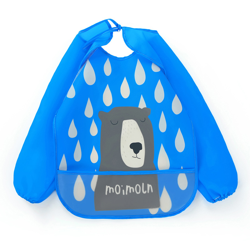MEMEZAI Children's PEVA cover up baby waterproof long sleeve reverse dressing processing customized