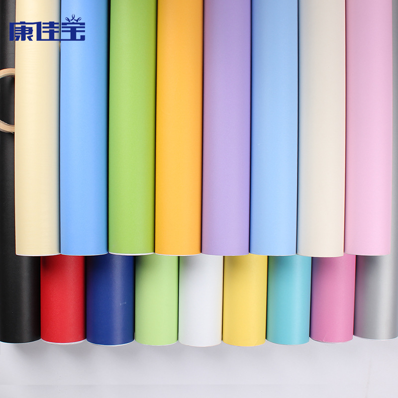 PINGYI Plain simple thickened PVC wallpaper self adhesive solid color wallpaper bedroom living room