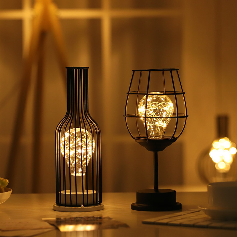 DIER LED copper wire iron lamp creative red wine glass wine bottle shape night light ins romantic ro