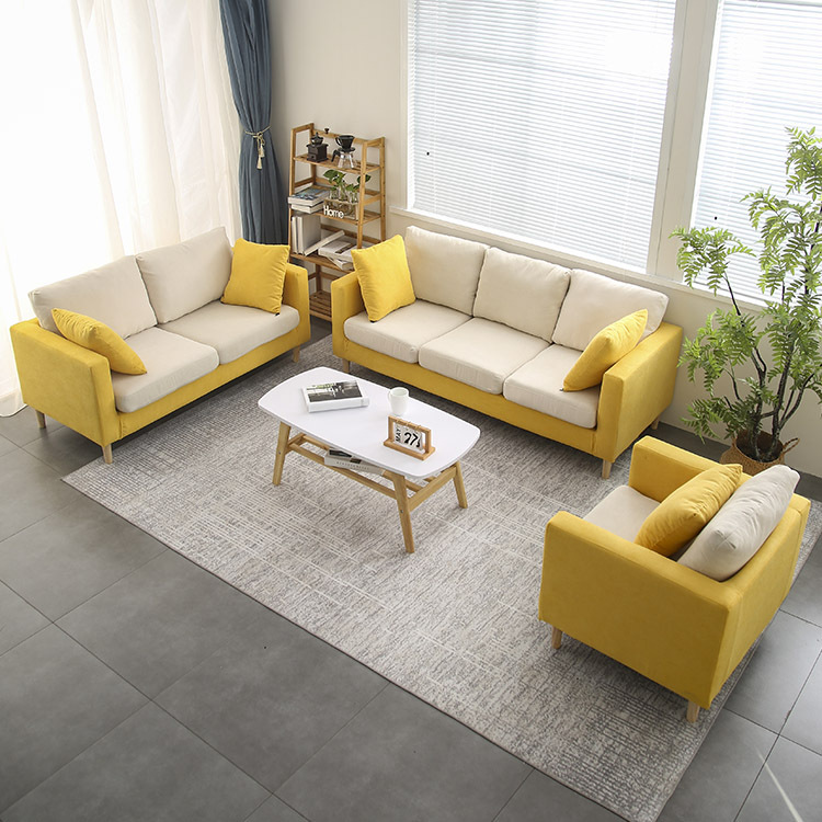 Simple cloth sofa, small family living room, integrated furniture, Japanese style light luxury three