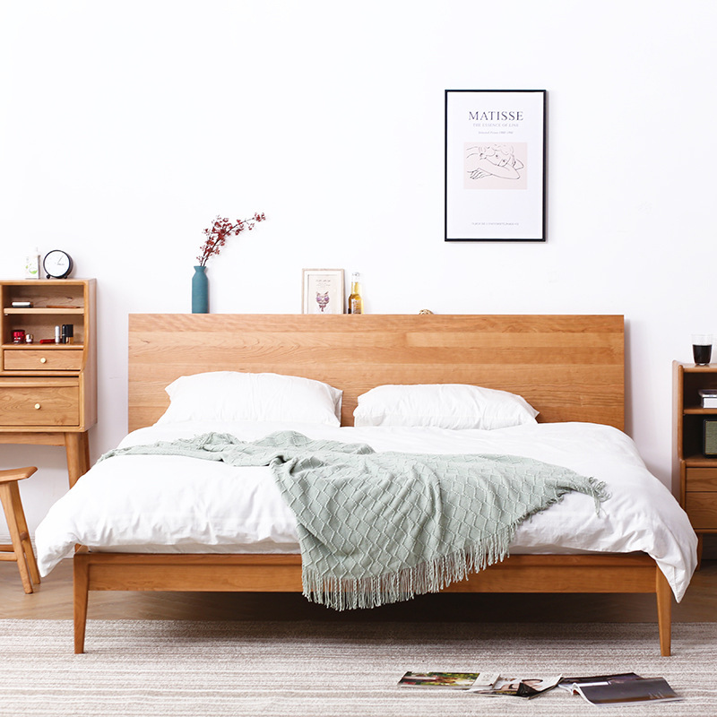 BAILONG Nordic cherry wood bed solid wood bed 1.51.8m bedroom furniture modern simple double wedding