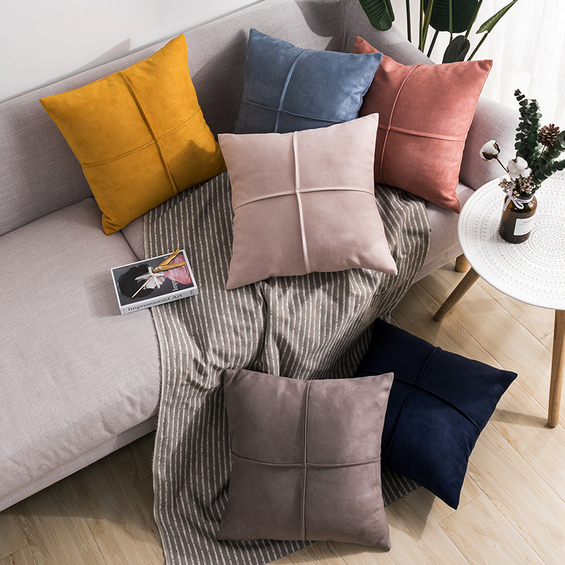 JIHAOSHI Home cushion plain suede pillow simple Nordic style sofa pillow back