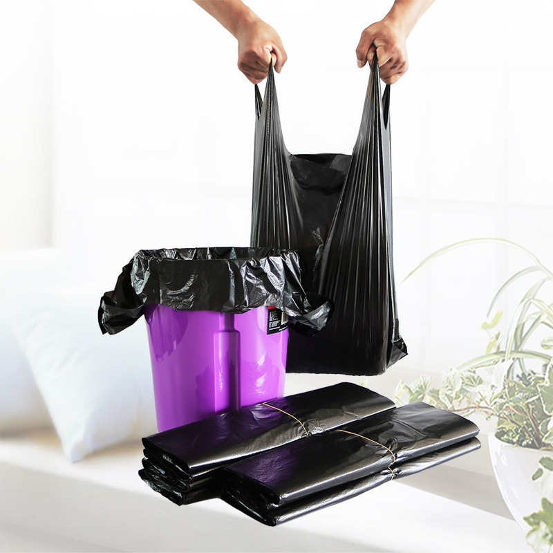 Portable garbage bag black vest plastic bag manufacturers wholesale large and small vest bags conven