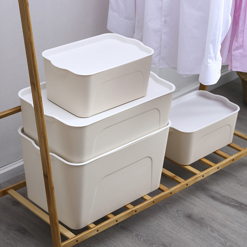 Plastic storage box with lid, clothes, sundries, children's toy storage box, wardrobe storage box,