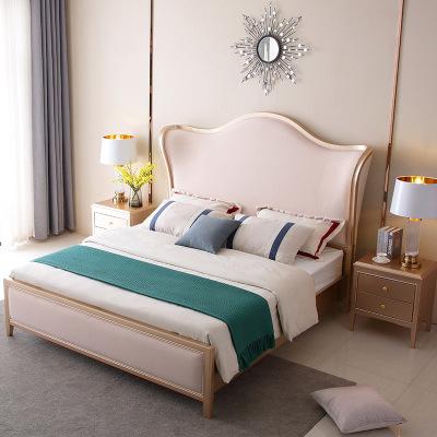MIIGUO giường Giường ngủ sang trọng nhẹ gỗ rắn 1,8 mét giường đôi chính phòng ngủ màu đỏ lưới Meike