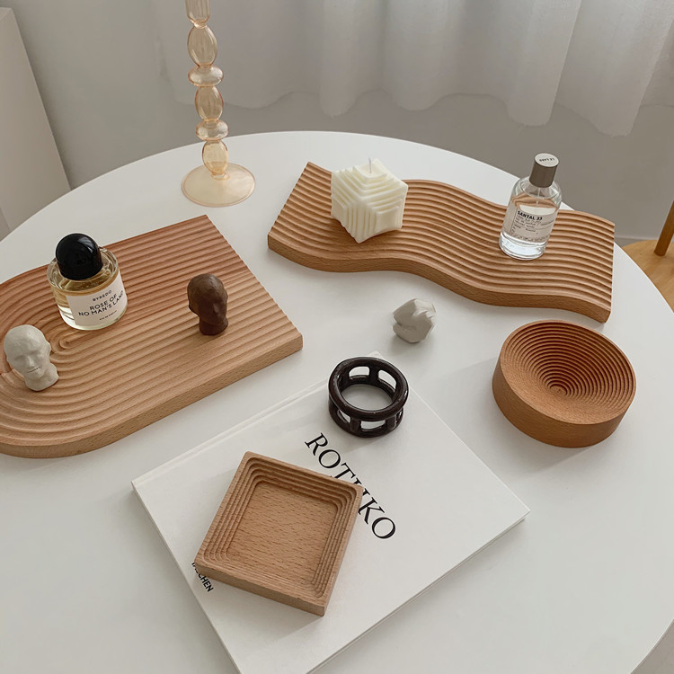 Nordic water ripple solid wood breadboard tray household beech aromatherapy storage storage afternoo