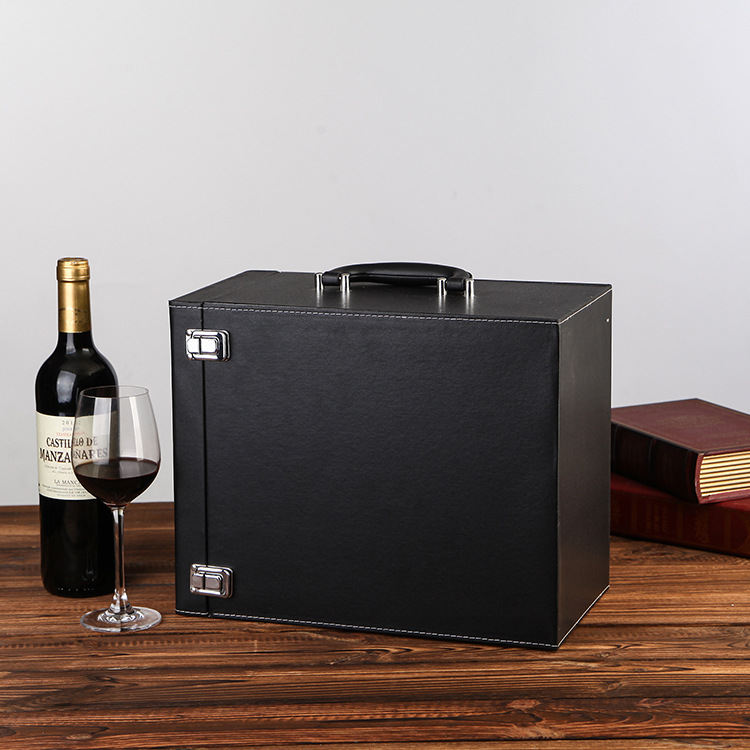 Red wine leather box packaging gift box six-pack leather suitcase 6 wine box incubator leather wine