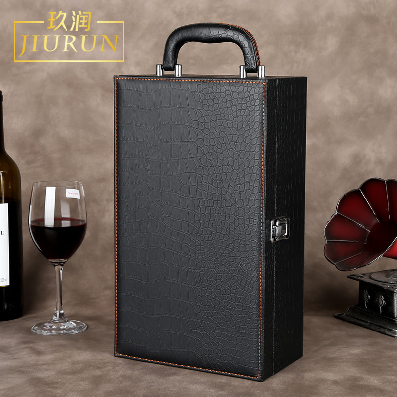 JUNRUN Red wine box, gift box, two high-end wine boxes, double wine luggage, leather box
