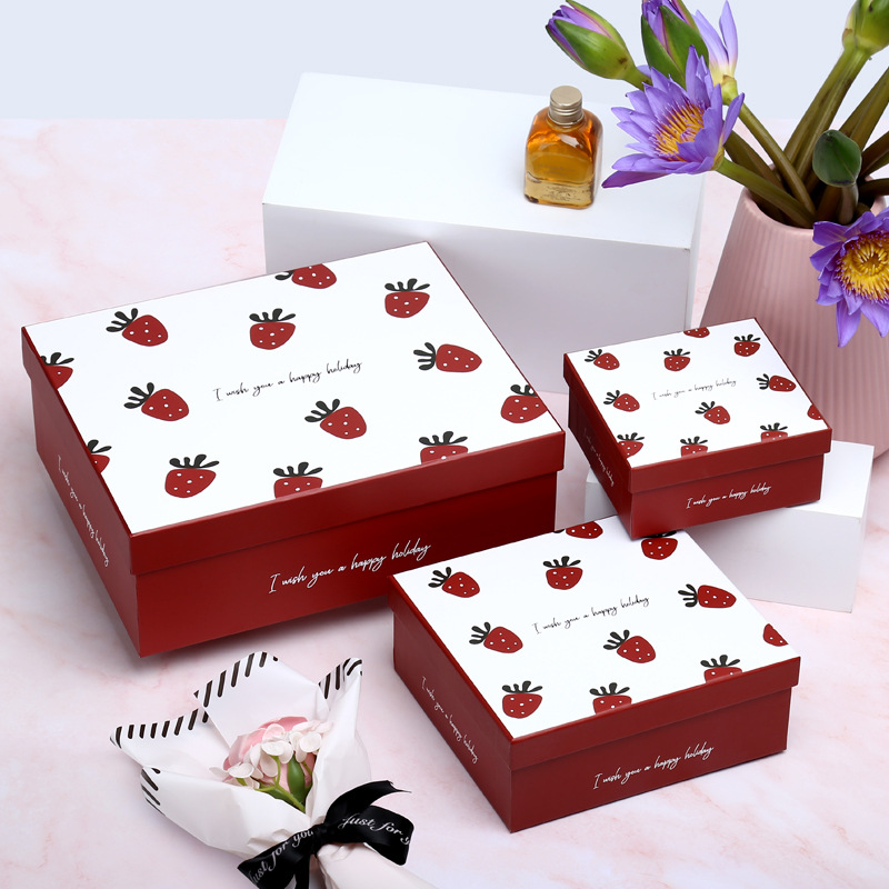 Creative Strawberry Gift Box Large Universal Gift Box Lipstick Cosmetic Scarf Gift Packaging Box Pap