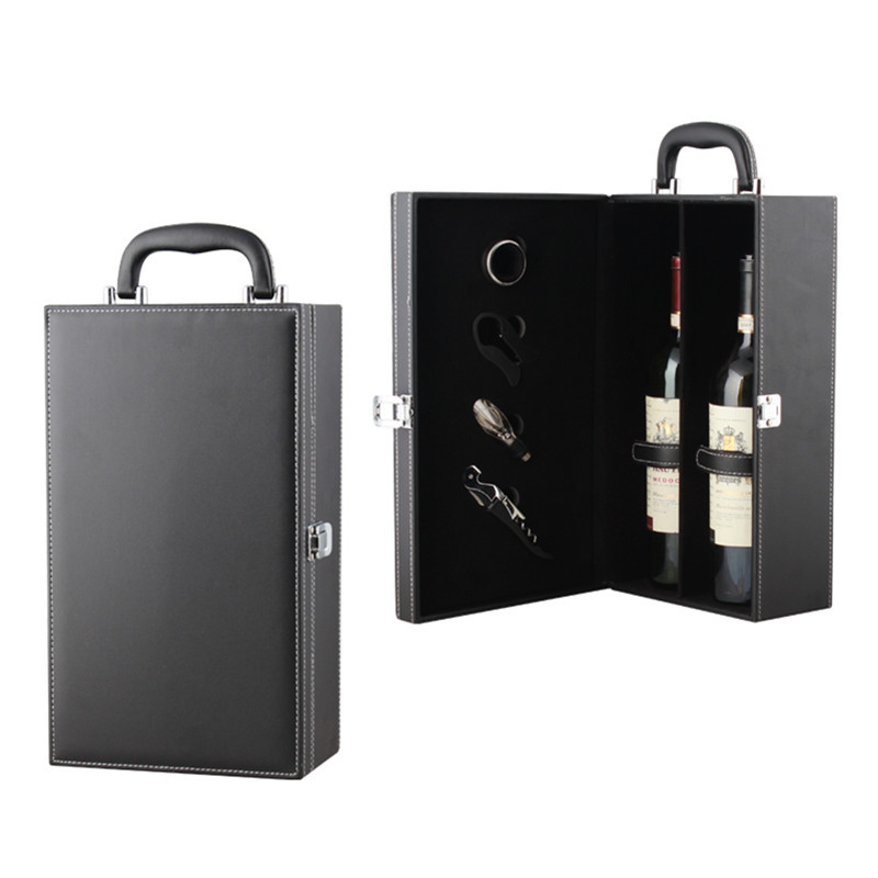 Needle pattern double gift box with 3 colors available, 2 wine leather boxes