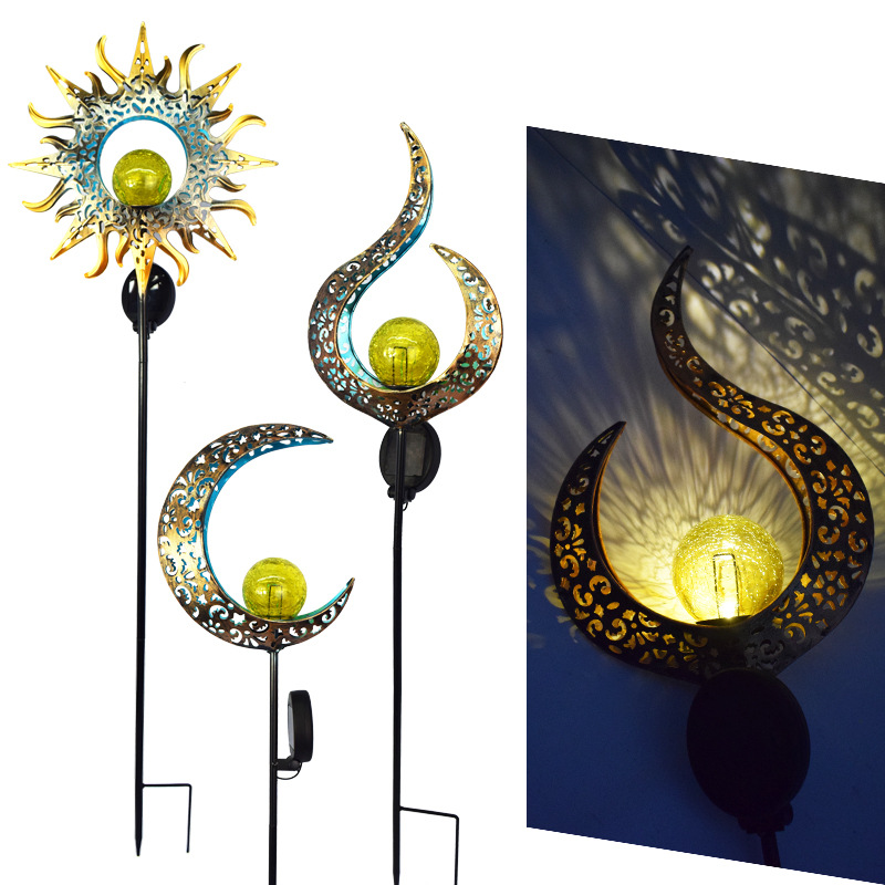 Cross-border outdoor iron art ground plug solar lawn lamp moon/flame retro hollow courtyard landscap