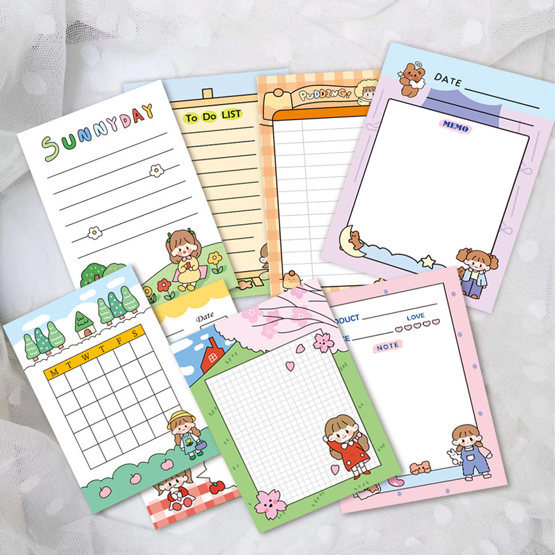 Japanese and Korean cute girl notes wholesale cartoon girl student message can tear creative notes