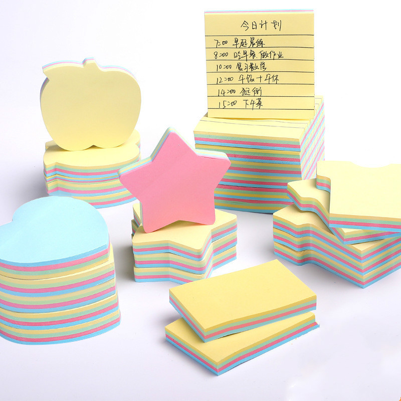 XUCAI Special shaped color note paper 100 pieces of cute cartoon post it notes take out