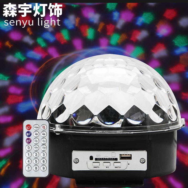 SENYU LED crystal magic ball stage light MP3 sound control six-color magic ball light KTV colorful b