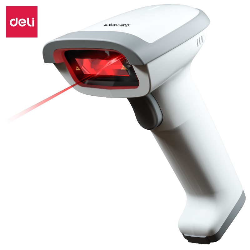 Deli 14881S Handheld Scanner Scan Code Gun Express Single Use Gun Supermarket One-dimensional Code W