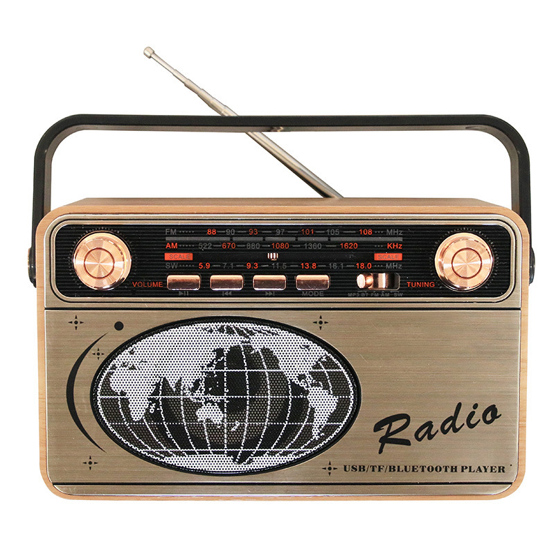 SGG Retro wooden portable multi-band card high quality wooden radio with bluetooth card