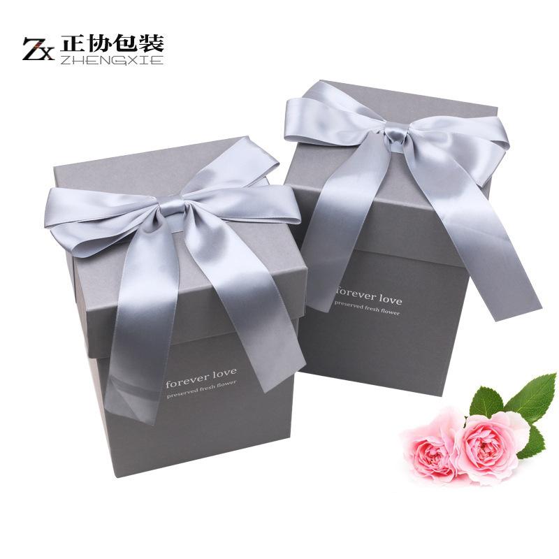 ZHENGXIE Preserved Flower Gift Box Ribbon Creative Packaging Box Valentine's Day Gift Box