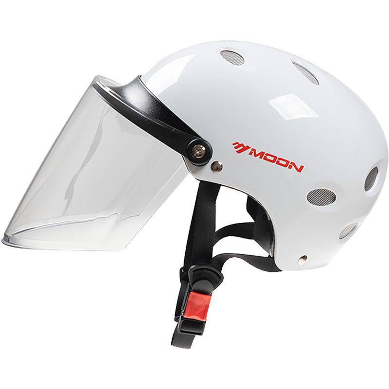 Moon electric bicycle helmet unisex solid color battery car helmet four seasons lightweight half-cov