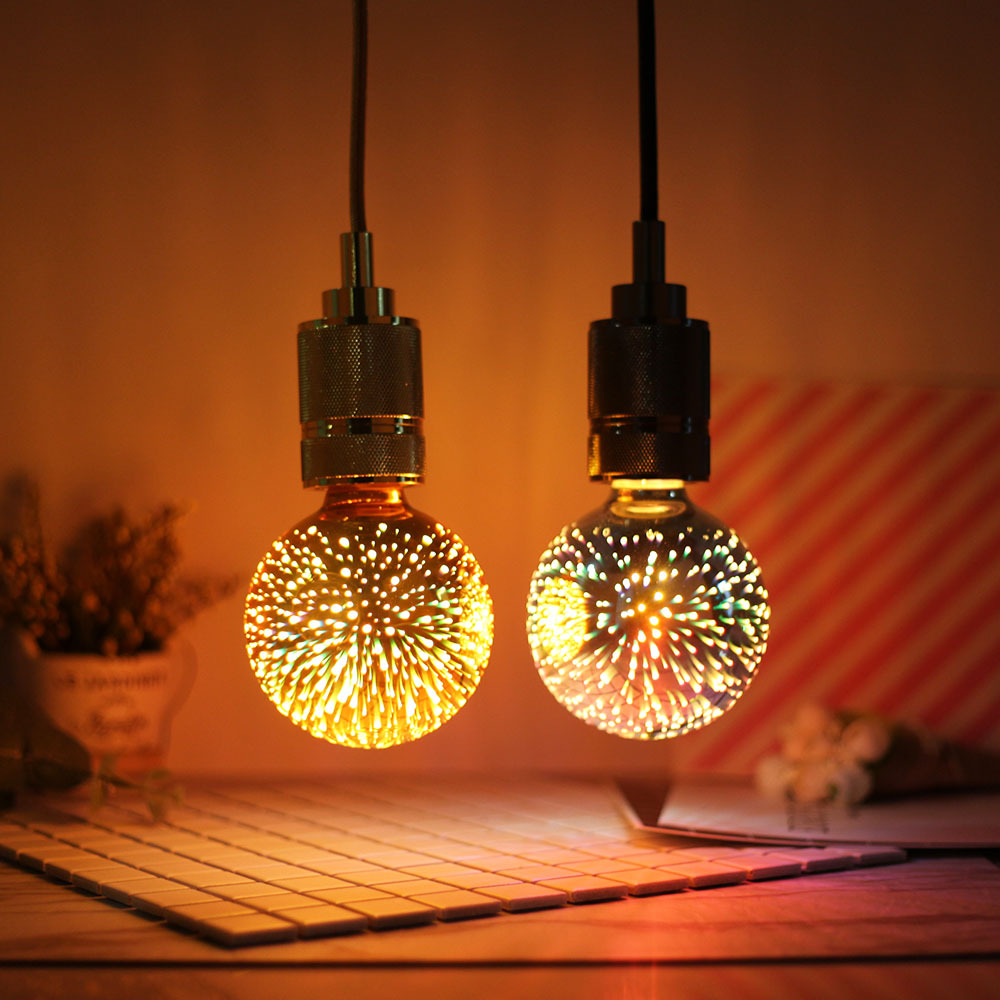 G95 3D lamp retro industrial style LED filament lamp three-dimensional 3D bulb restaurant bar decora