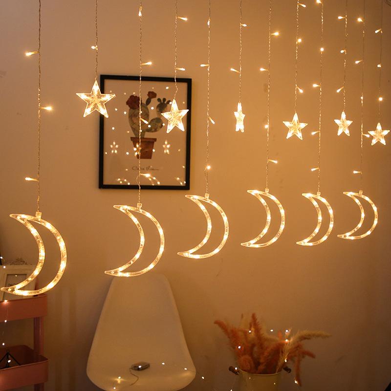 ZJLHGW Ramadan Eid Mubarak decorative lights led string lights stars moon curtain lights Christmas d