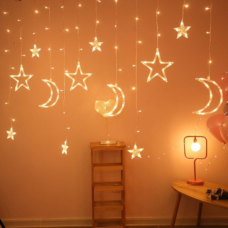 ZJLHGW Lanterns, stars and moon, led curtain lights, holiday lights, decorative lights, Christmas li
