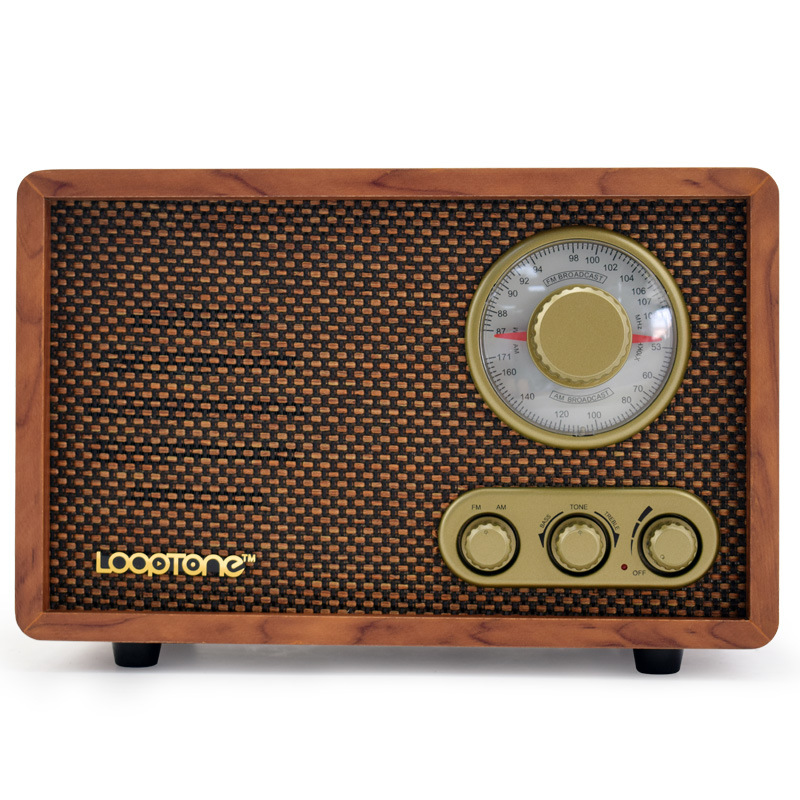 DESHENGYUAN Retro desktop radio FM/AM two dual band antique wood old-fashioned semiconductor home Bl