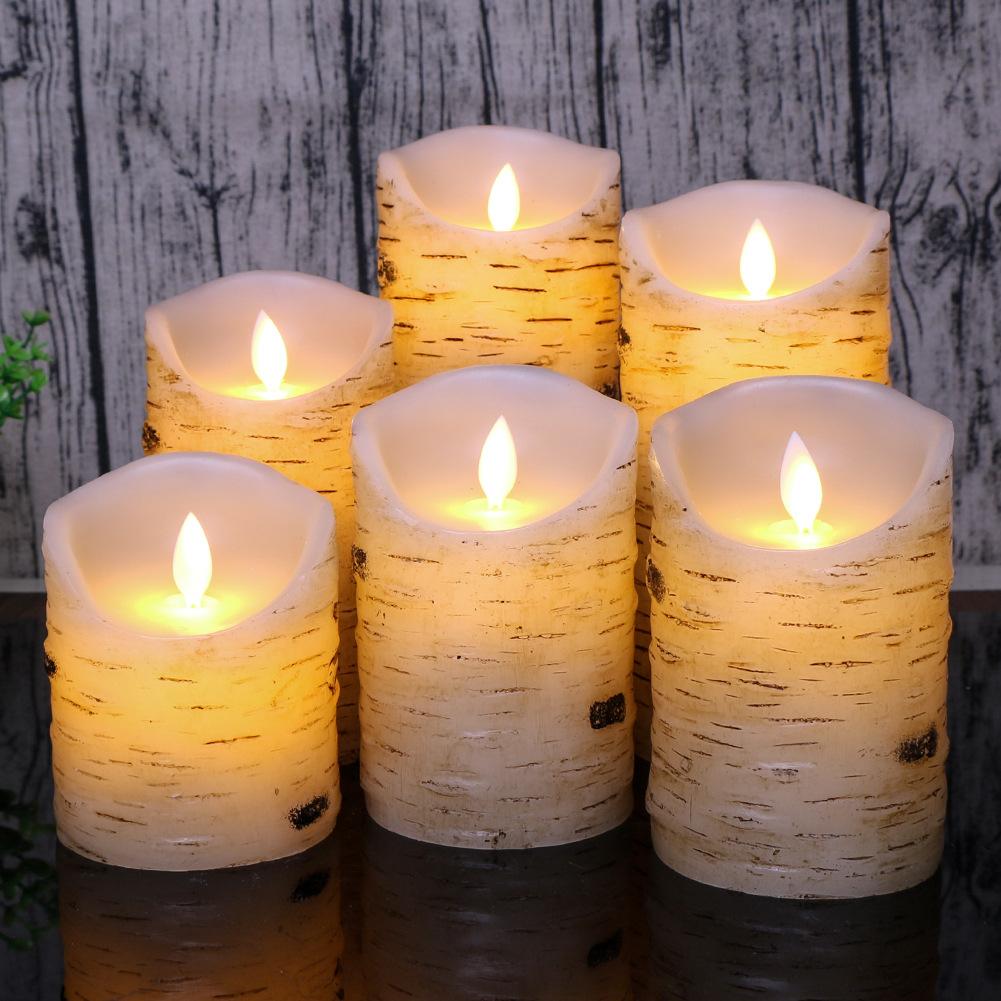 led electronic candle light simulation paraffin wax birch bark home decoration bar hotel restaurant
