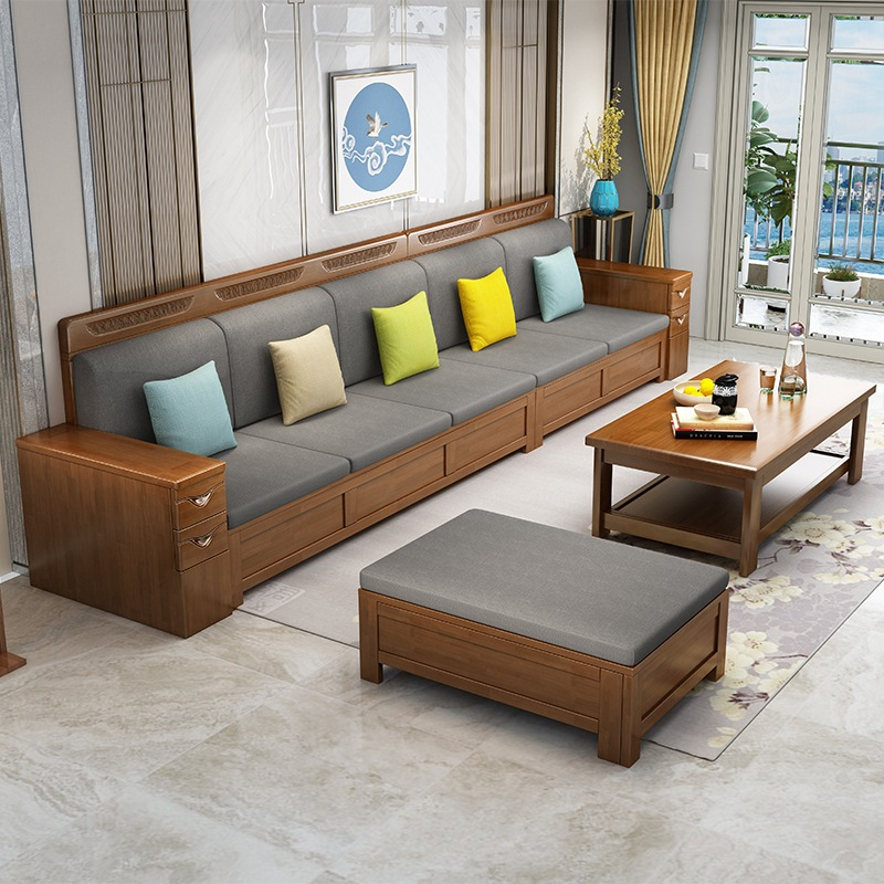 Chinese style furniture, fabric, solid wood sofa, combination of large and small apartment office mu