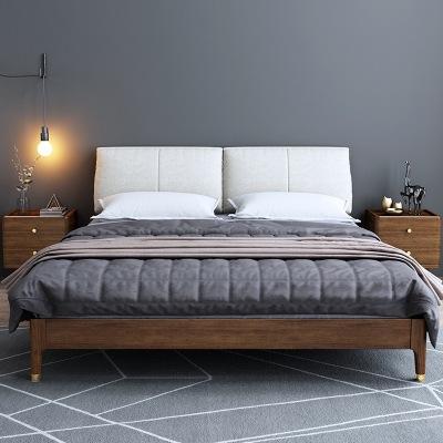 DUANMUCIXIANG giường Giường ngủ gỗ óc chó Bắc Âu giường 1,8m giường đôi hiện đại tối giản giường 1,5
