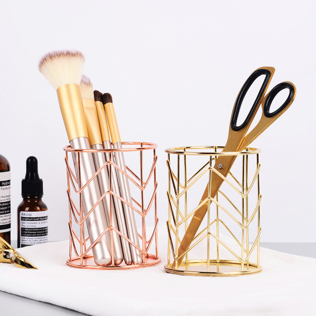 SHUCHAO Nordic rose gold office supplies multi function iron art pen container makeup brush containe