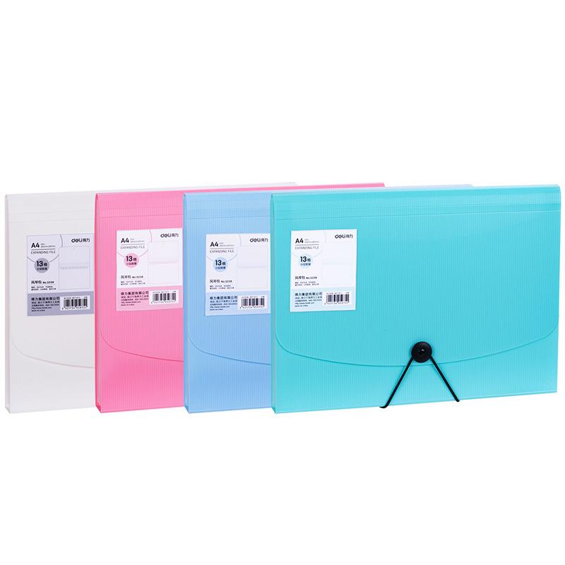 Deli 5238 organ bag fashion colorful folder A4 multi-layer information book students' test paper ba