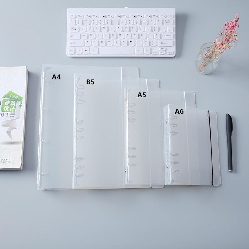 Unprinted four hole A4 hole transparent loose leaf folder twill binding file shell information book