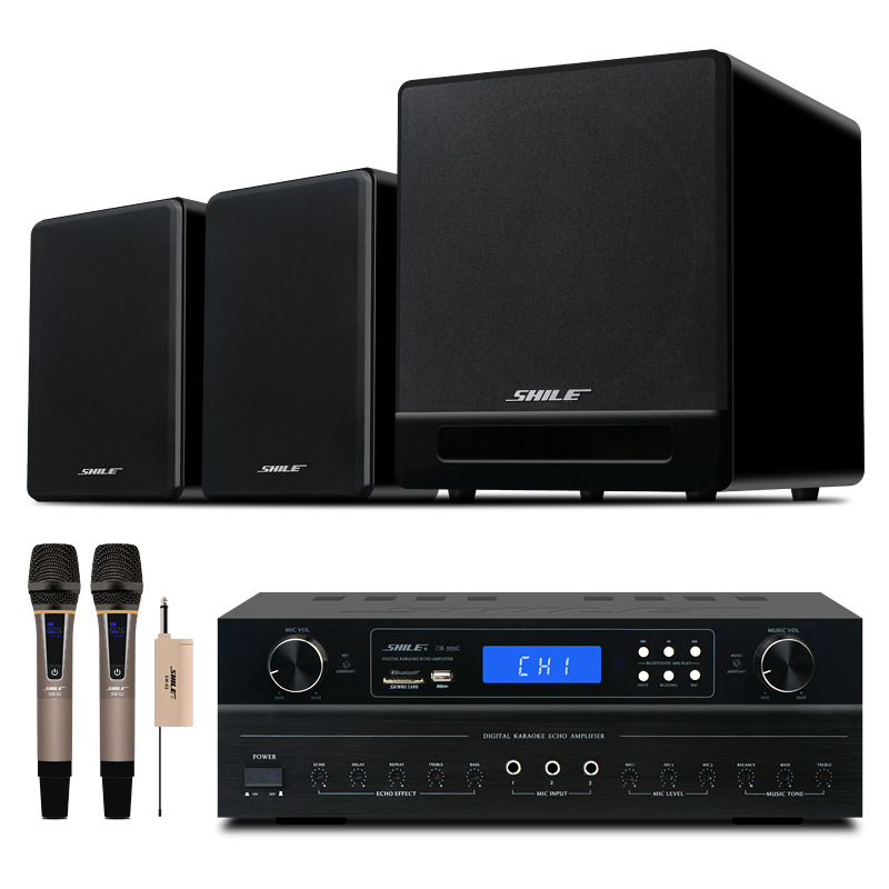 SHILE Home audio theater lion karaoke power amplifier ok555c + KTV audio bg-6 + yw-2 subwoofer equip