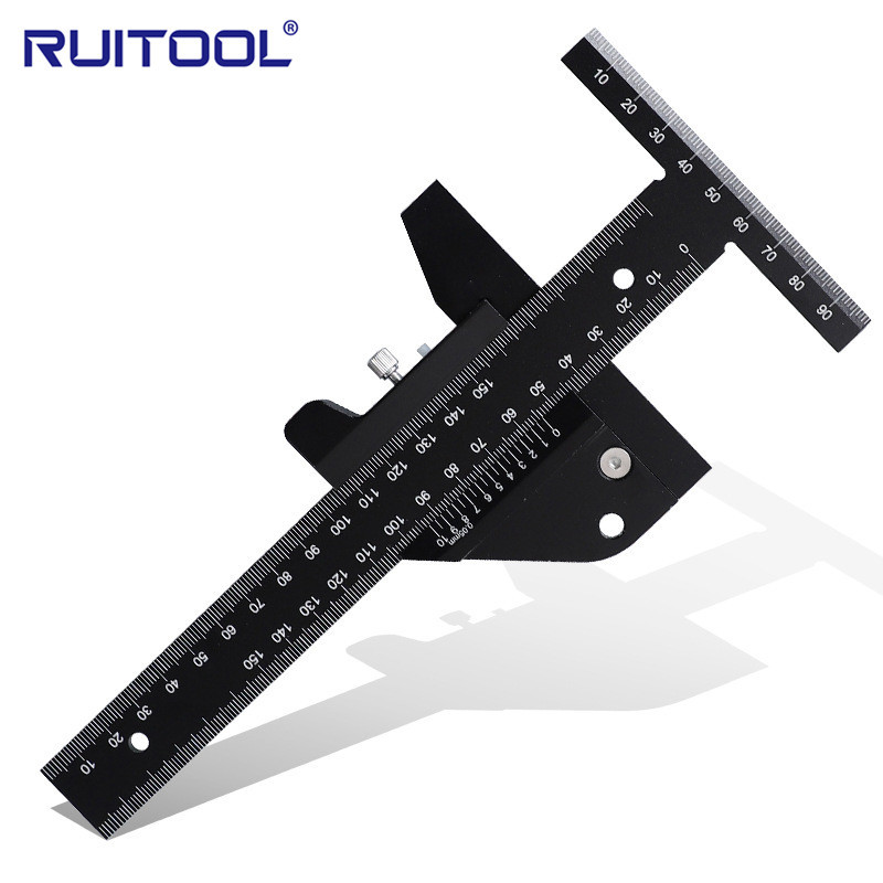RUITOOL Woodworking scribing ruler, aluminum alloy T-type line drawing device, depth vernier measuri