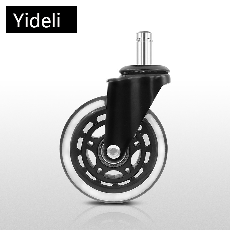 YIDELI 2.5 inch 3 inch transparent casters, plunger type PU circlip wheels, office chair swivel whee