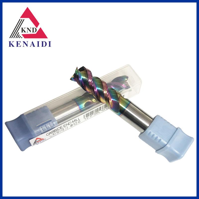 Dao phay bóng nhám tích hợp ánh sáng bóng cao cho nhôm với thép vonfram phủ bảy màu