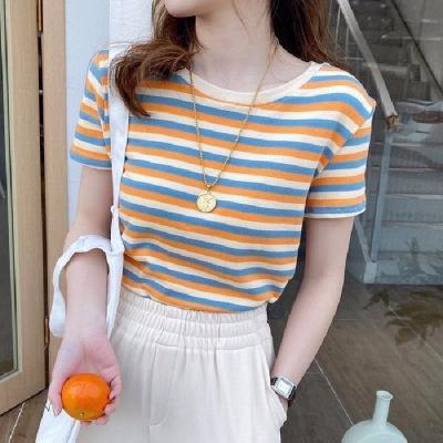 Striped t-shirt female ins super fire 2021 short-sleeved net red bottoming shirt short in summer