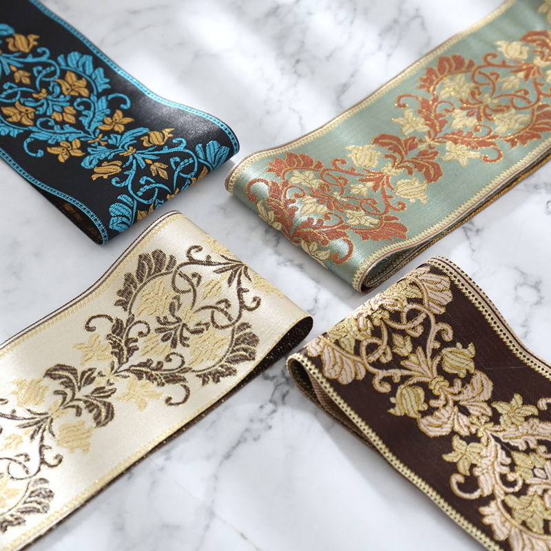 JIADONG European style stitching jacquard edging curtain fabric ethnic style lace webbing small side