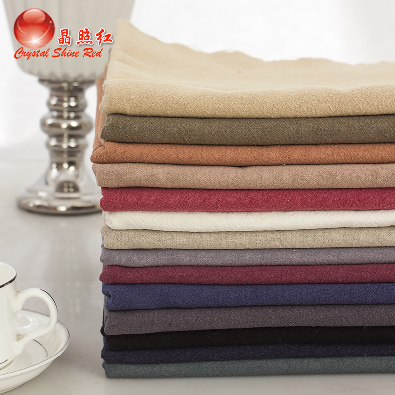 JINGZHAODENG Slub flax solid color hemp crepe cloth clothing ethnic style fabric thick linen summer