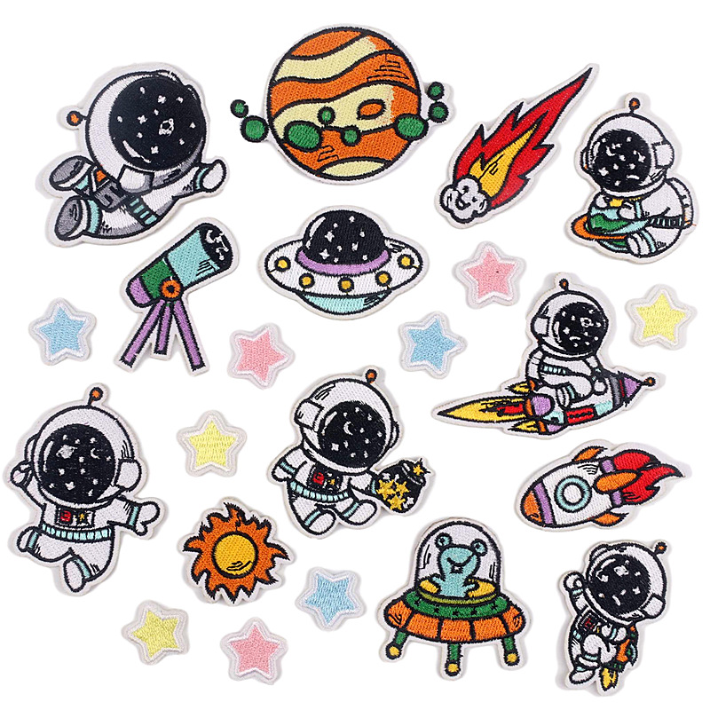 Original innovation cartoon astronaut embroidery cloth stickers space fantasy series flying saucer c